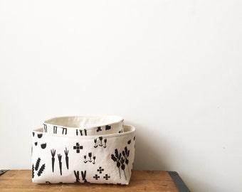 Small Storage, Fabric Basket, Black and White, Animal Print Bin, Oil Case, Key Chain Storage, Gadget Case, Toiletry box, Cute Organizer