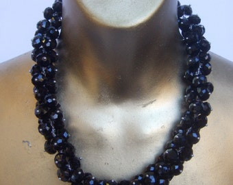 Elegant Black Glass Beaded Choker Necklace