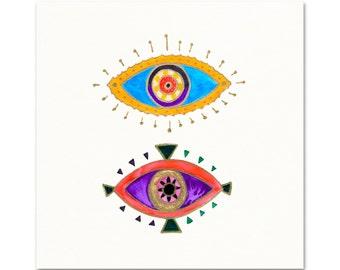 Modern Boho Art Print. Purple Evil Eye Art. Mystical Wanderlust Boho Decor. Evil Eye Painting. Modern Boho Print. Gypsy Girl Wall Art.