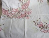 Vintage Tablecloth 1950s Fruit Print Cotton Cutter
