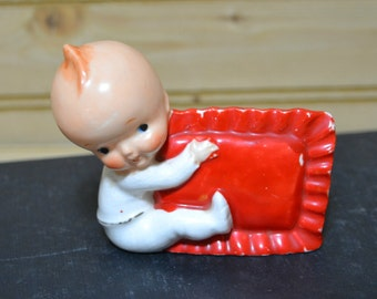 Vintage Baby Figurine Figure with Red Pillow Collectible Big Head