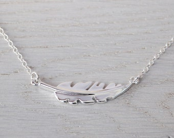 Silver Feather Necklace - Sterling Silver