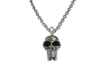 Skull with Black Eyes Pendant Necklace