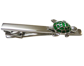 Green Turtle Tortoise Square Tie Clips