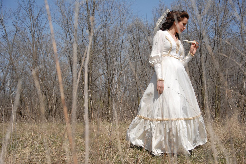 Vintage cotton wedding dress, boho maxi Victorian Renaissance ...