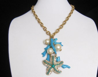 SALE Faux Turquoise, Pearl & Rhinestone Y Necklace. Chunky Gold Tone Chain Adjusts. Center Drop Chain is Hung with Big Beach Theme Accents.