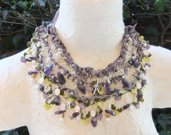Purple Leather Crochet-Lace-Nacre-Amethyst-Pearl-Gold Plated Beads Ethnic Boho Necklace