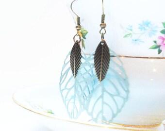 Mint Green Feather Earrings, Mint Leaf Statement Earrings, Tween Gift