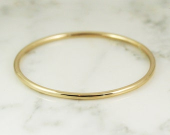 3.25mm Solid 22k Gold Bangle Bracelet - Simple Gold Bracelet - 3mm Bangle