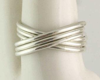 Solid Gold 6 Band Interlocking Crossover Ring - Rolling Ring - Russian Wedding Ring - Infinity Wedding Band - Stacking 14k 18k 22k
