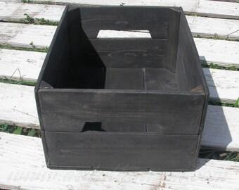 Reclaimed Wood Crate Urban Loft Decor Modern Industrial Storage Crate Rustic Primitive Folk Art Custom Finish Wooden Bin Box Onyx Black