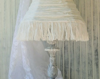 Tall table lamp Paris Grey white washed Silk chiffon polka dot lampshade French apartment cottage shabby Upcyclesisters