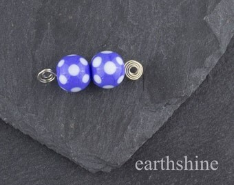 Pair round blue spotty lampwork glass beads. Earring pair