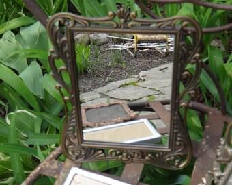 Mirror, Metal Mirror, Cast Metal Mirror, Baroque, Chic, Makeup Mirror, Tabletop Mirror, Vanity Mirror, Powder Room, Cottage, Regency, Casa