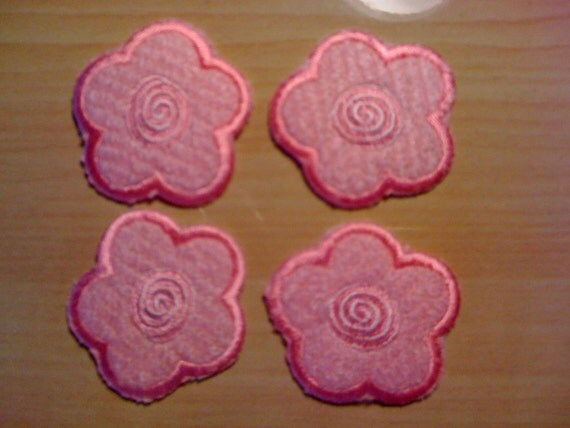 Four Pink Fuzzy Flower Iron On Appliques A30