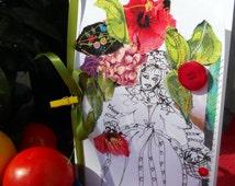 Edwardian Lady, Fiber Art Card, Sewn Art Card, Hand Drawn Print Lady, Floral Art Mixed Media Card, Kathleen Leasure, FromGlenToGlen