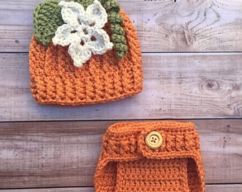 Baby Girl Pumpkin Hat and Diaper Cover Set Newborn Photo Prop Halloween costume baby Hat