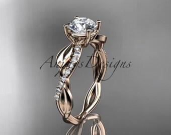 14kt rose gold leaf diamond wedding ring, engagement ring ADLR385