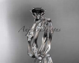 14kt white gold diamond wedding ring, engagement ring, engagement set with a Black Diamond center stone ADLR132S