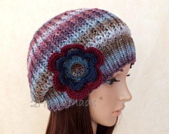 Chunky Knit Hat Rasta Tam Oversized Beret Slouchy Merino Wool Beanie Bordo Vine Gray Grey Crochet Flower Wood Button Womens Adult Teens