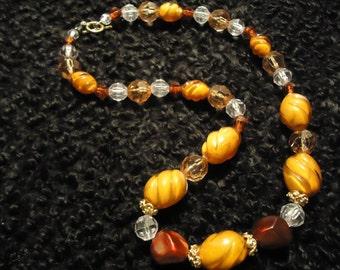 Boho Vintage Sunburst In Yellow Sunrise, Vintage Reassembled, Reworked Necklace