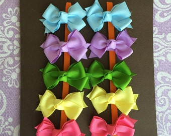 READY TO SHIP - Spring Colors - 10 Small Classic Pigtail Bows