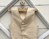 Boys vest Linen beige tan boys VEST, wedding vest for boys, ring bearer vest, photo prop for boys