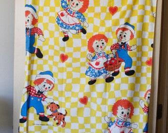 Vtg 1970s Raggedy Ann & Andy FLAT Twin Sheet Yellow White Gingham Print