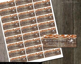 Fall Mason Jar Address Labels DIY Avery Labels for Printing Yourself Rustic Address Labels Printable Return Address Labels Digital File