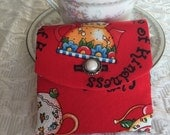 Tea Bag Wallet with Faux Pearl Button - Red - Green