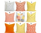 OUTDOOR Pillows, Outdoor Pillow Covers, Orange Pillow Cover, Yellow Gray, Decorative Pillow, Gray Pillow, Grey Pillows,, All Sizes, Cushion