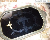 SUMMER SALE 1910's, 20's RARE Black Mirrored Reverse Painted Tray with Gold Roses, Victorian, French, French Country