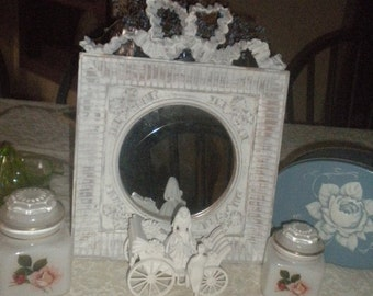 SUMMER SALE Beautiful Up cycled Ornate Round Mirror, Shabby Chic, Baby'sRoom