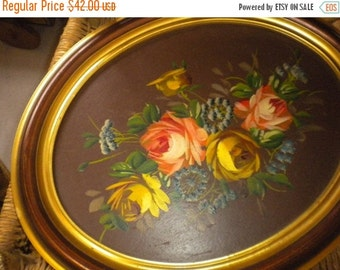 SUMMER SALE Beautiful Vintage Framed Rose Painting, Victorian, French, Eclectic, French Country