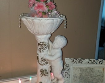Heavy plaster cherub compote, Shabby Chic, French, French Country, Cherub, Victorian, French Provential