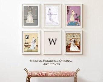 Wedding Dress Art Chanel - 50s Retro  - Gibson Girl - Gatsby Era Art Prints SET Wedding Artwork DIY Bridal Shower Bachelorette Wedding Gift
