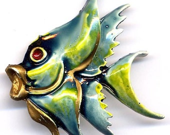 FISH Brooch Blue, Green, Yellow & Gold Enamel   Item: 12882