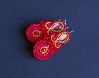 soutache earrings, red earrings, gift for woman, embroidery earrings, fuschia earrings, dangle earrings, gift for girl, mother's day