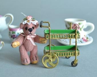 Tea Miniatures Miniature Bear Miniature Tea Set Miniature Tea Cart Porcelain Miniatures Collectible Bear Small Tea Set Teresa Yang Bear