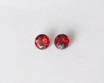 Natural Red Rhodolite, Unheated, Round Cut, Lot (2) of 0.86 carat