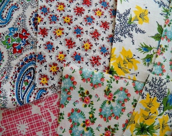 Ten Vintage 1930 Cotton Fabric Pieces for Quilting and Projects