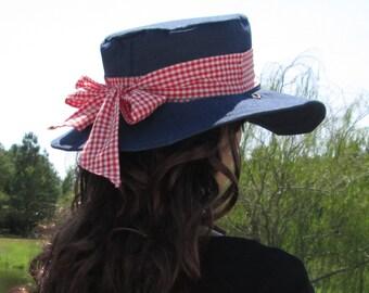 Blue Denim with Red and White Checks Garden Beach Sun Hat