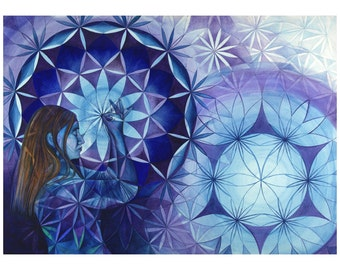 A3 print: 'An Opening Place' prayerful mandala artwork by Anne Thomas