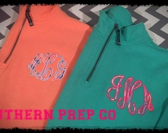 SALE Script or Circle Applique' Monogrammed QUARTER ZIP Pullover