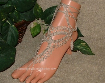 Hand Made Tan Barefoot Sandals Anklet Foot Jewelry Beige Crochet Barefoot Sandals Lace Up Women Sandal Shoes SIZED Barefoot Sandles Gift
