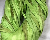 Recycled Sari Silk Ribbon Lime Green Spring Jewelry Sari Wrap Bracelet Eco Gift Wrap Fair Trade Felt Knit Crochet Fiber Art Supply