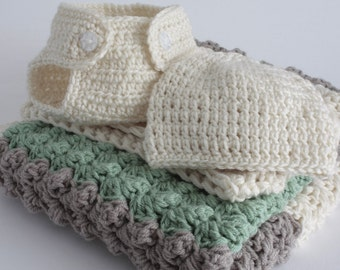 Green, fawn and cream. Extra thickness crochet baby boy layette / gift set.   Ideal Christening / shower /layette /new baby boy/girl gift.