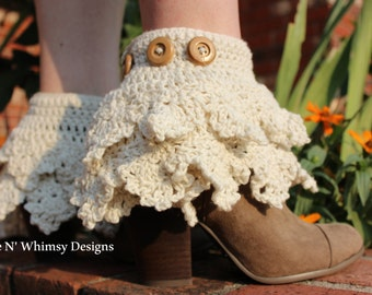 Last Minute GiftADJUSTABLE Ankle Boots Ruffled Crochet Boot Cuffs Knit Layering Socks Boot Topper Leg Warmer Snow Ski Steampunk Anime Trendy
