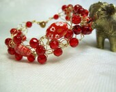 Red Millefiori Crocheted Wire Bracelet, bead crochet bracelet, handmade beaded jewelry