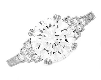 GIA Certified Round Brilliant Diamond Engagement Ring Pave Set 3.00ct 18k Gold